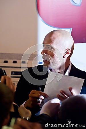 Acteur Dwayne (la roche) Johnson à Moscou Photographie éditorial