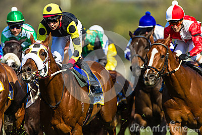 Action de jockeys de course de chevaux Image éditorial