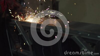 The action of the electric arc when using a welding machine. Close-up. stock video footage