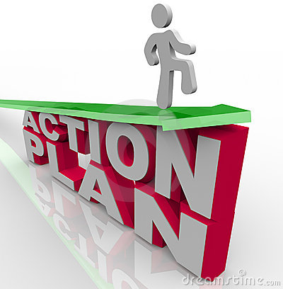 Free Action Plan - Man On Arrow Over Words Royalty Free Stock Photography - 16601337