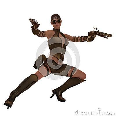 Action steampunk warrior girl