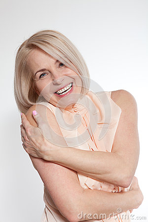 Free Active Beautiful Middle-aged Woman Smiling Friendly And Looking Into The Camera. Woman S Face Close Up. Stock Image - 70504881