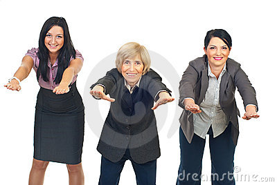 Active businesswomen doing exercises