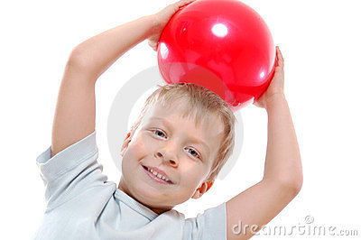Active child  with a ball