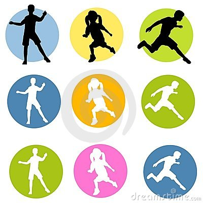 Active Children Silhouettes
