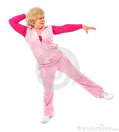 Active elderly lady coaching fitness