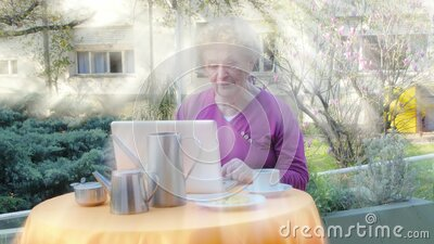 Active elderly woman using modern laptop making breakfast outdoor. Light rays from behind stock footage