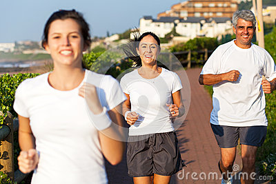 Active family jogging