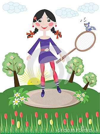 Active girl,tennis