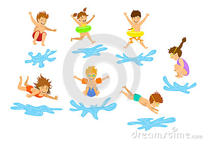 Active kids children, boys and girls diving jumping into swimming pool water Vector Illustration