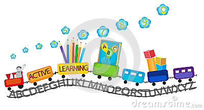 active learning for preschool kids colorful train stock
