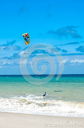 Free Active Lifestyle Sport Background. Kite Surfer Near Ocean Coast Stock Photo - 60867880