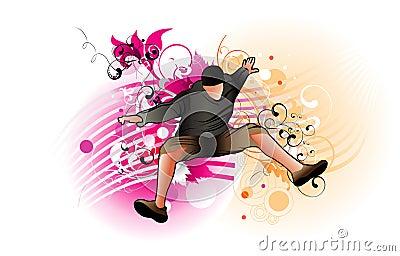Active man jumping