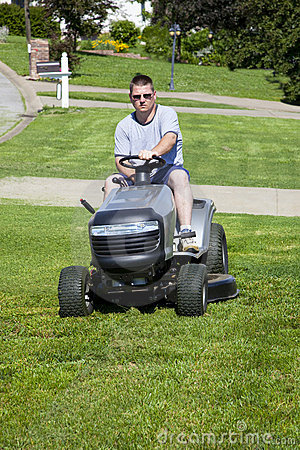 Active Man Mowing lawn