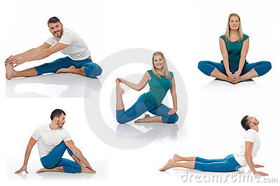 Active man and woman doing yoga fitness poses