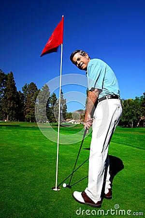 Free Active Mature Man Golfer Royalty Free Stock Image - 6108106