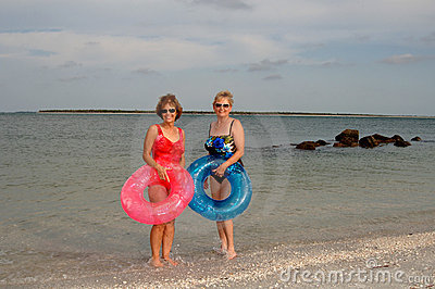 Active older women at beach
