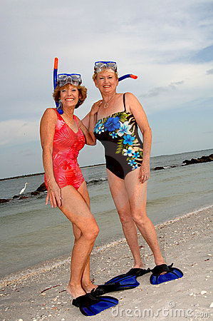 Active older women snorkel