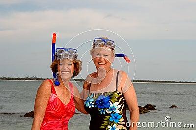 Active older women snorkel