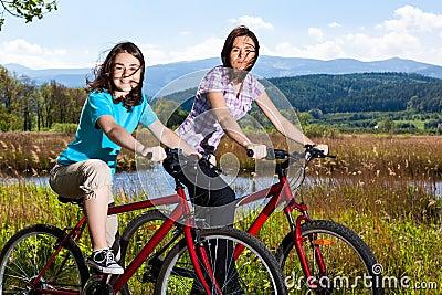 Active people biking