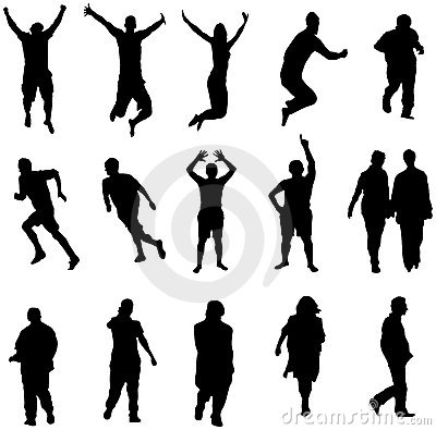 Active people silhouette