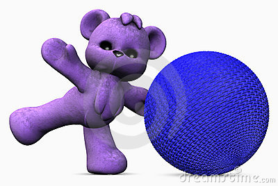 Active purple teddy bear