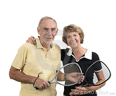Active senior couple ready for sport