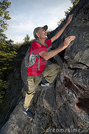 Active senior hiker