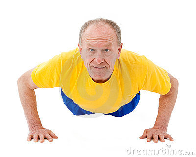 Active senior man. Push Ups