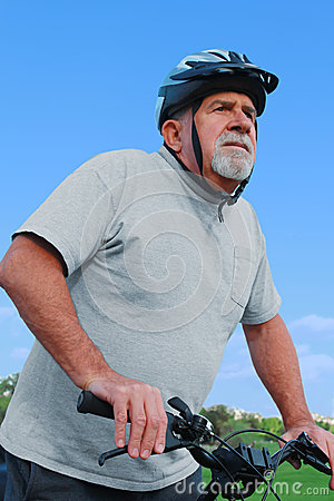 Active Senior Riding a Bike
