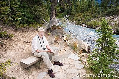 Active Senior Tourist Enjoying Nature