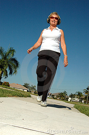 Active senior walking
