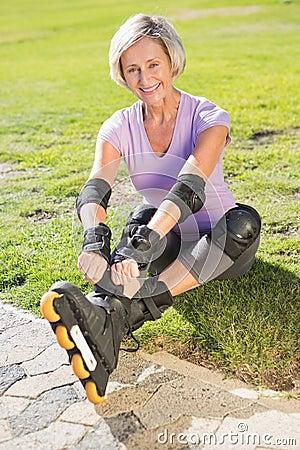 Active Senior Woman Ready To Go Rollerblading Stock Photo ...