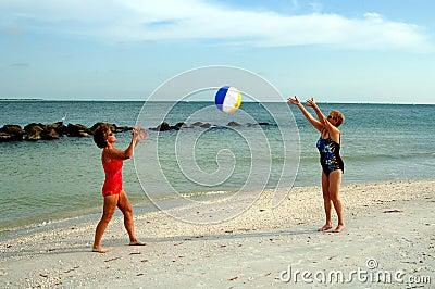 Active senior women at beach