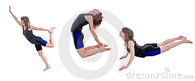 Active slim woman exercising