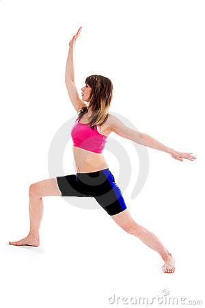 Active slim woman exercising