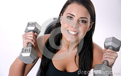 Active Smile Female Lifts Ten Pound Barbells Gym