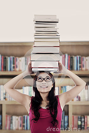 Active student in library