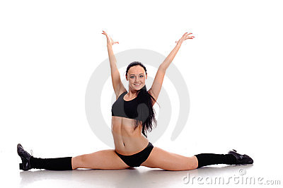 Active woman do the splits