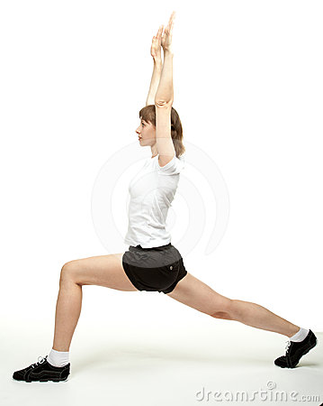 Active woman doing sport exercises