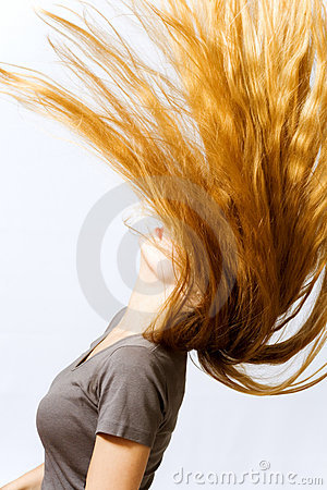 Active woman with hair in motion