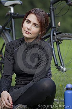 Active woman having break
