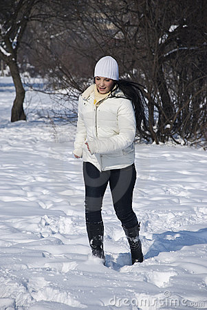 Free Active Woman In Winter Stock Image - 12771571