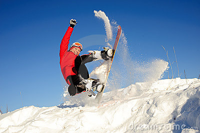 Active woman on snowboard
