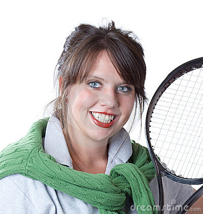 Active woman with a tennis racquet