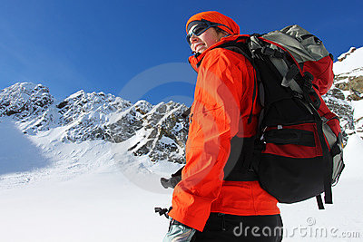 Active woman in winter mountains