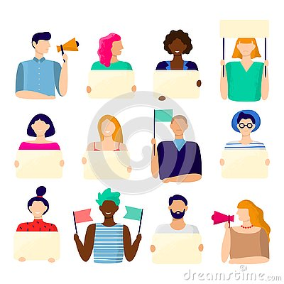 Free Activist Holding Placard. Protest Active People, Male And Female Hold Poster And Protesting Activists Vector Stock Images - 138923434