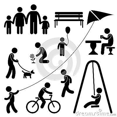 Activité de stationnement de jardin de gens d enfants de famille d homme