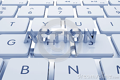 Actoion text on computed keyboard