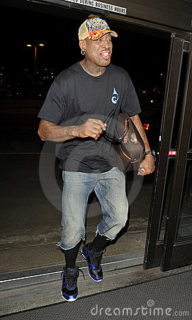 Actor and baseball star Dennis Rodman at LAX Editorial Image